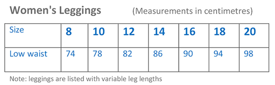 Womens Leggings Sizing Guide