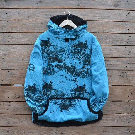 Men's XL reversible hoody in black/turquoise