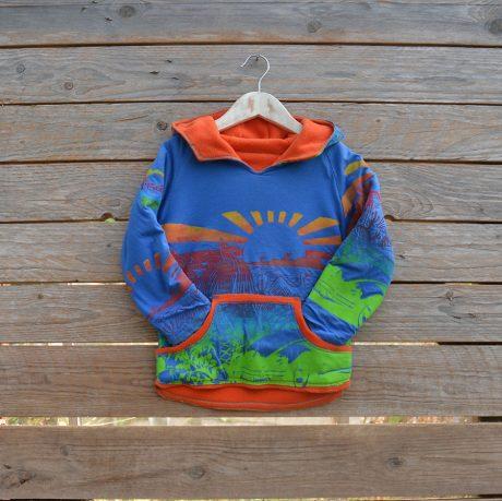 Kid's reversible hoody in orange/royal