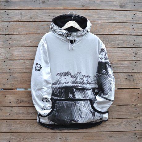 Men's reversible hoody, size large in black/natural