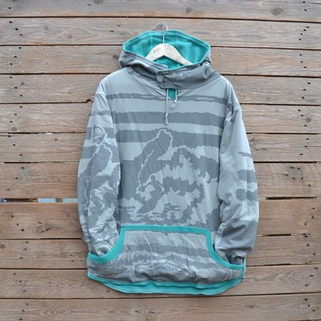 Men's reversible hoody size large in jade and grey