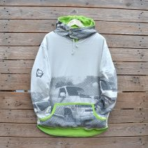Men's reversible hoody, size large lime and natural