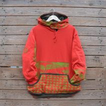 Men's large reversible hoody in olive/red/lime