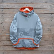 Men's large reversible hoody in orange/grey