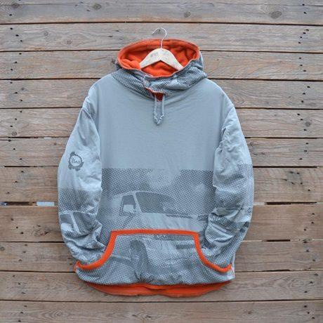 Men's large reversible hoody in orange/grey