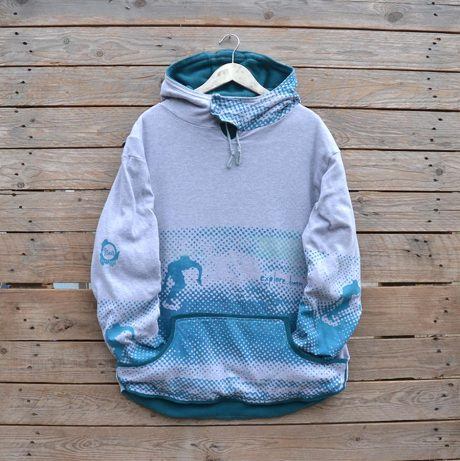 Men's reversible hoody in teal and grey marl