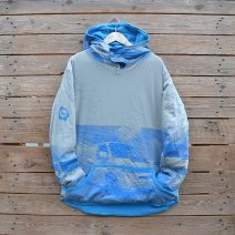 Men's reversible hoody, size large in turquoise and grey