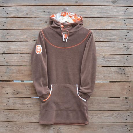 Women's hoody dress in brown and natural