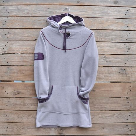 Women's hoody dress in light grey and plum