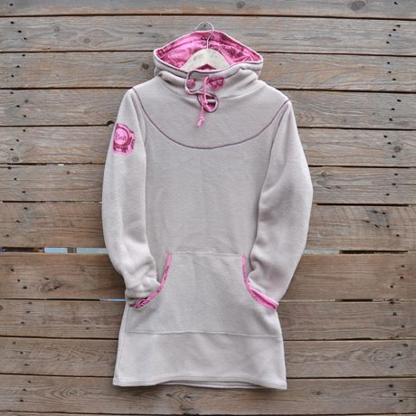 Women's hoody dress in natural and candy