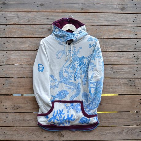 Size 12 women's reversible hoody in plum/natural