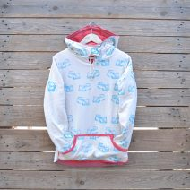 Size 8 reversible hoody in coral/natural