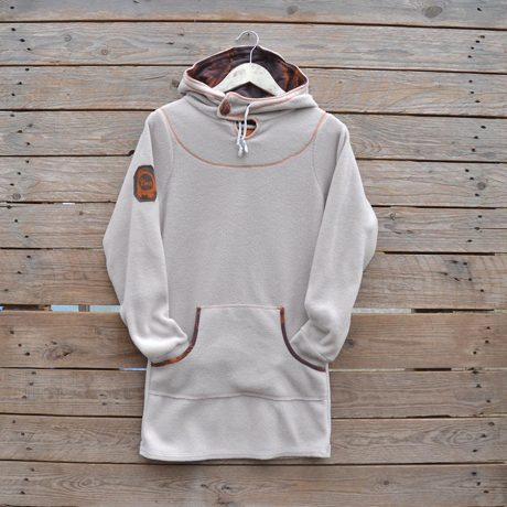 Women's hoody dress in natural and mocha with jungle print in orange ink