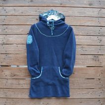 Women's hoody dress in petrol and teal
