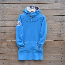 Women's hoody dress, size 8 in turquoise and natural