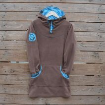 Women's hoody dress in brown and turquoise, size 10