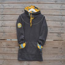 Women's hoody dress in grey and mustard, size 10