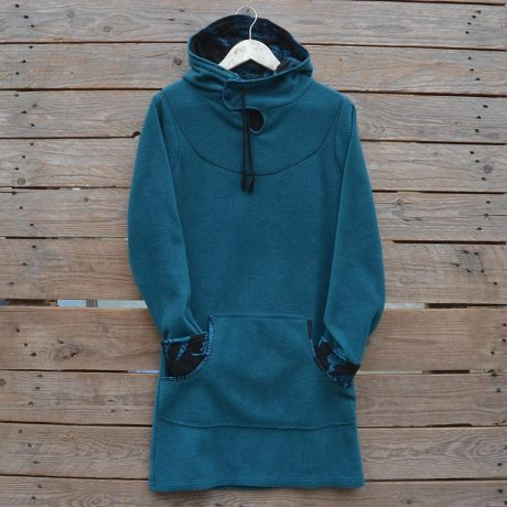 Women's hoody dress in teal and black, size 10