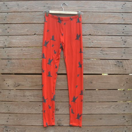 Printed leggings in burnt orange/grey