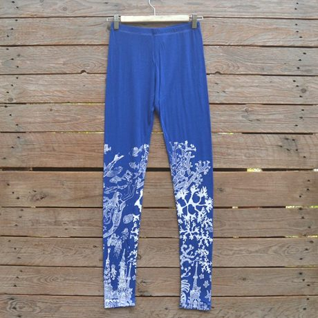Printed leggings in royal/white