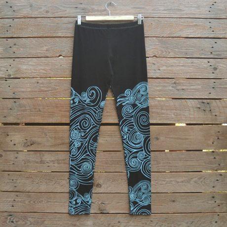 Printed leggings in black/aqua
