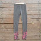 Printed leggings in dark grey/pink