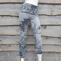 Printed fold over waist trousers