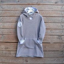 Hoody dress age 8 light grey