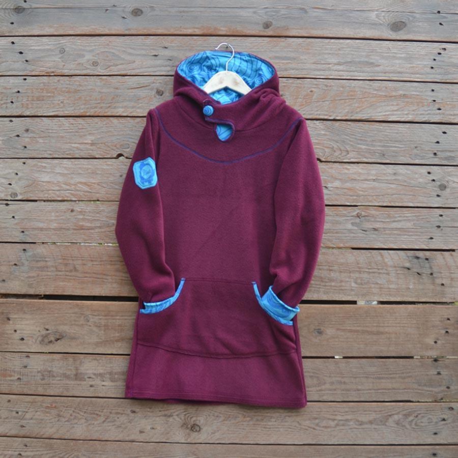2193fec7f15f Girl s hoody dress in plum turquoise