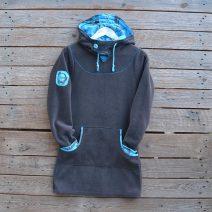 Hoody dress in dark grey/turquoise - size 8
