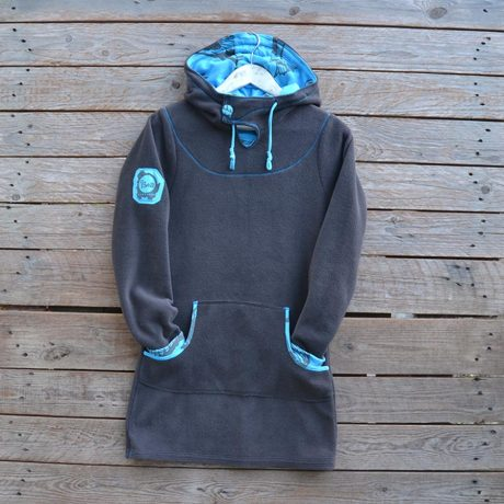 Hoody dress in dark grey/turquoise - size 8