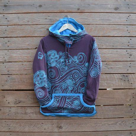 Women's reversible hoody in turquoise/plum - size 8