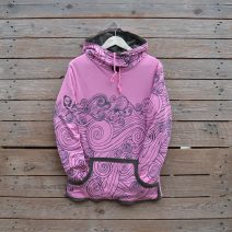 Women's reversible hoody in olive/candy pink - size 10