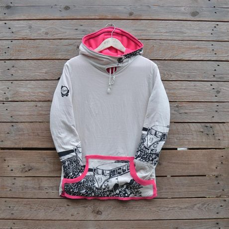 Women's reversible hoody in pink/natural - size 10