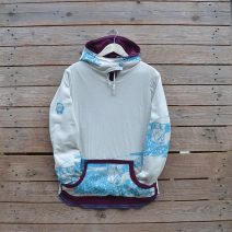 Women's reversible hoody in plum/natural - size 12