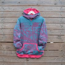 Women's reversible hoody in pink/teal - size 12