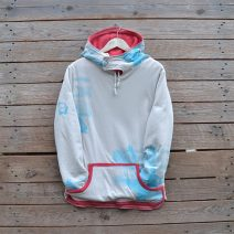 Women's reversible hoody in coral/natural - size 14