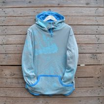Women's reversible hoody in turquoise/light grey - size 16