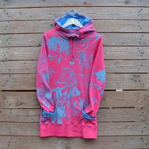 Jersey hoody dress in cerise/turquoise in size 8