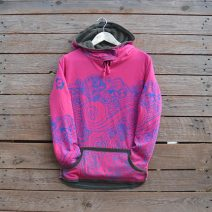 Women's reversible hoody in olive/cerise - size 8