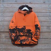 Men's reversible hoody in black/orange