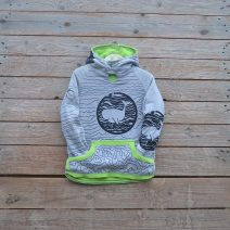 Kid's reversible hoody in lime/marl grey