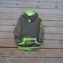 Kid's reversible hoody in lime/mocha