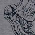 Printed leggings in light grey with mermaids in black