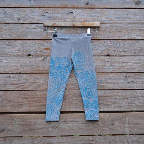 Kid's printed leggings in light grey/ turquoise