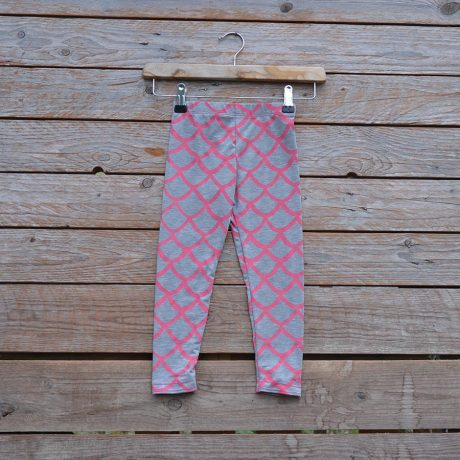 Kid's printed leggings in light grey/pink