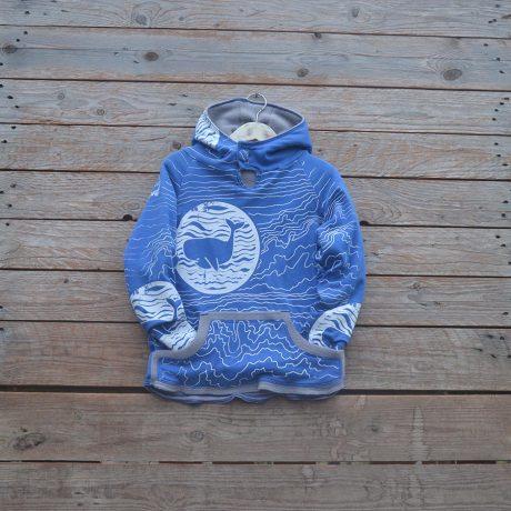Kid's reversible hoody in light grey/royal