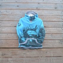 Kid's reversible hoody in light grey/turquoise
