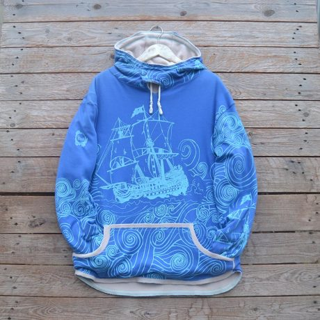 Men's reversible hoody in natural/royal