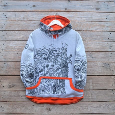 Men's reversible hoody in orange/marl grey